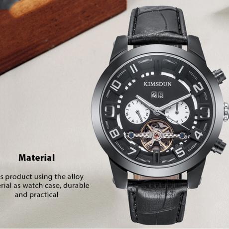 KIMSDUN K - 823D Waterproof Luminous Mechanical Watch for Man - Multi-A Black Dial Black Case