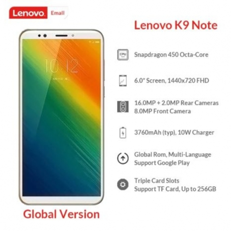 Lenovo K9 Note 3/4GB 32/64GB Global Version 6'' Smartphone Snapdragon Octa Core Face ID 16MP Camera 3760mAh Battery