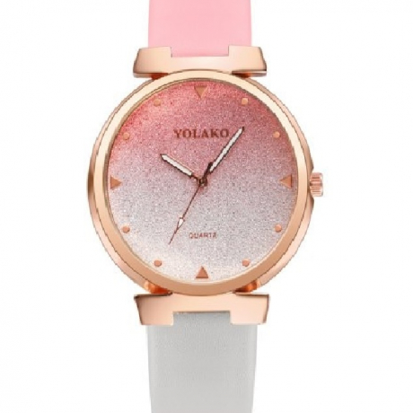 New Ladies Casual Fashion Two-Color Belt Quartz Watch - Pink