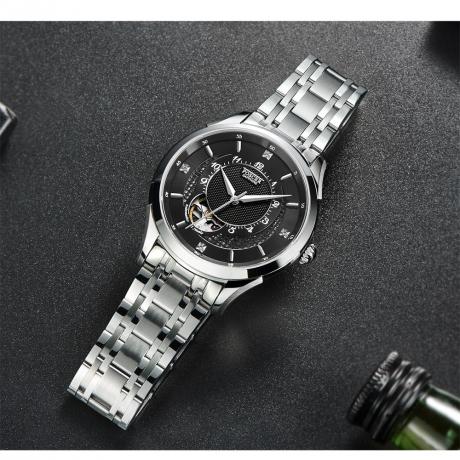POSCER Men Mechanical Waterproof Steel Belt Watch 50049 - Black