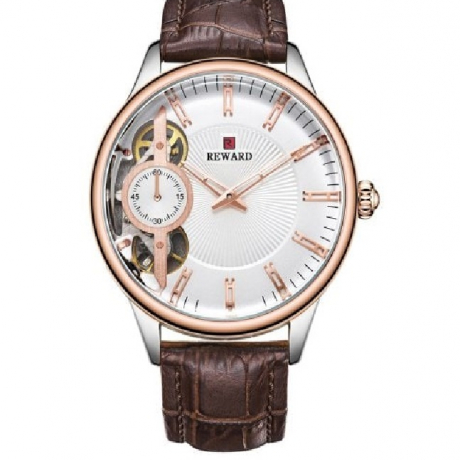REWARD RD63091 Men's Automatic Mechanical Watch Leather Band - Rose