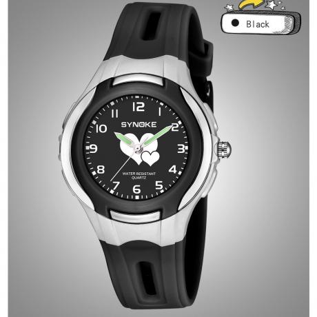 SYNOKE Children'S Outdoor Sports Fashion Quartz Watch - Black