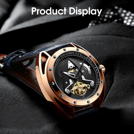 TEVISE T831 Alloy Genuine Leather Strap Men Waterproof Mechanical Watch with Date Function - Black