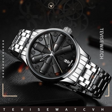 TEVISE T836c Quartz Stainless Steel Strap Waterproof Night-luminous Men Mechanical Watch with Date Function - Black