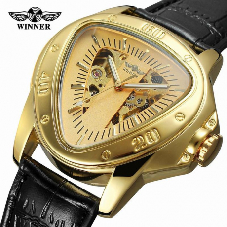 Winner A516 Openwork Triangle Men Automatic Mechanical Watch - Silver