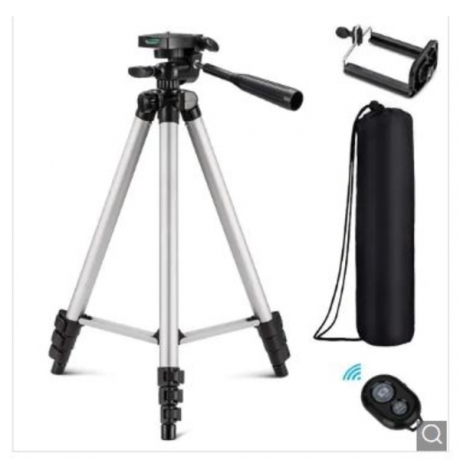 3 in 1 Universal Three-way Tripod Camera with Clip / Remote Controller for Phone - Silver