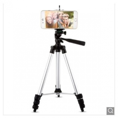 3110 Silver Color Tripod Stand 4-SECTION Lightweight Portable Aluminum Mini Trip - Silver