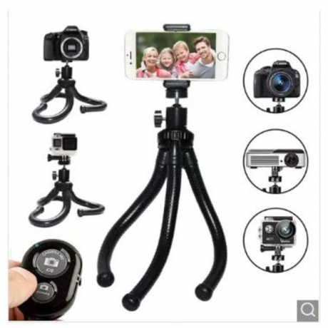 Adjustable Bluetooth Remote Shutter Tripod Phone Camera Holder Stand Mount - Black