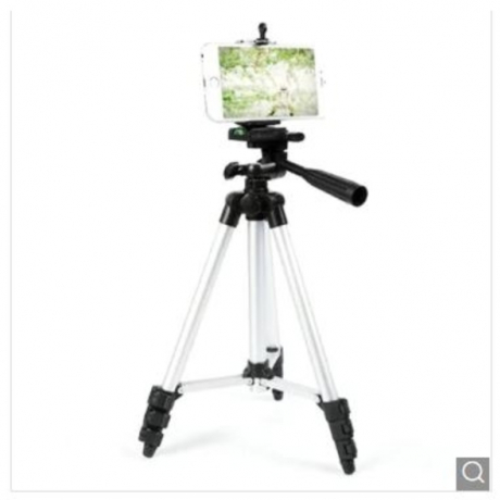 Camera Tripod with Phone Clip - Silver