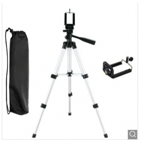 JOFLO Adjustable Camera Tripod with Cell Phone Clip Holder - Silver