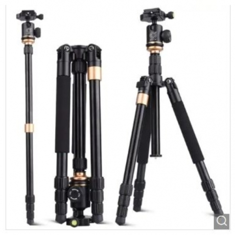 QZSD Q999S Professional Photographic Portable Aluminium Alloy Tripod Kit Monopod Stand - Black