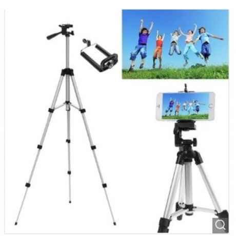 Three-way Universal Creative Adjustable Camera Tripod with Cellphone Clip Holder - Silver