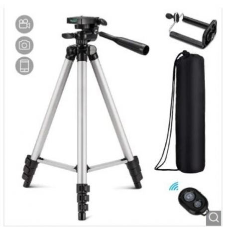 Three-way Universal Tripod Camera Clip Holder with Remote Control for Cell Phone - Silver