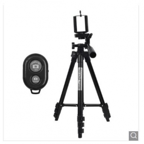 Wireless Bluetooth Remote Control Aluminum Extensible Phone Camera Tripod Stand - Black