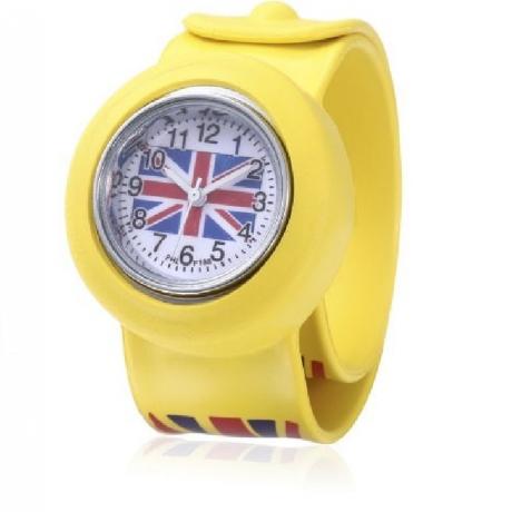 Children Quartz Watch British Flag Pattern Wristwatch - Yellow