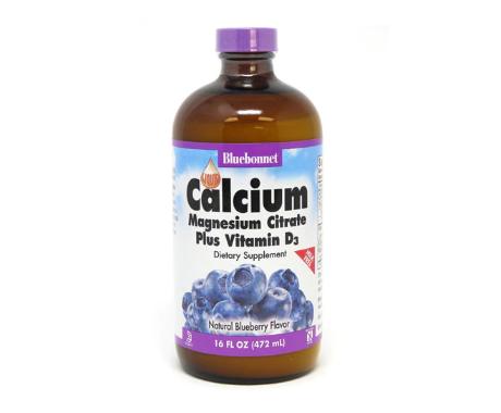 Bluebonnet Nutrition Liquid Calcium Magnesium Citrate Plus Vitamin D3 Natural Blueberry -- 16 fl oz