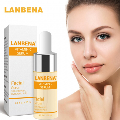 LANBENA Vitamin C Serum for Face, C Serum with Hyaluronic Acid - Anti Wrinkle Anti Aging Facial Serum, Natural & Organic - 0.5 Fl.oz / 15ml