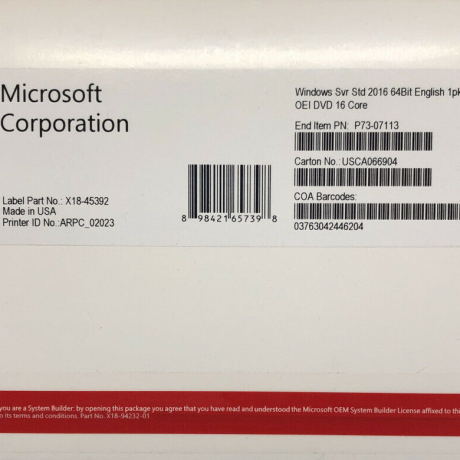Windows Server 2016 Standard 64Bit English 1pk DSP OEI DVD 16 Core, NEW!