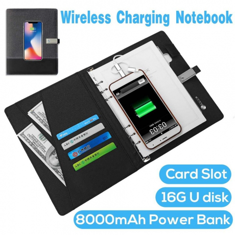 Travel Wireless Charger Usb-C Power Bank Notebook Powerbank Diary Planner Notebook