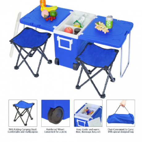 OEM 28L Foldable Multifunction Picnic Camping Cooler Box With Table and 2 Chairs $38.50