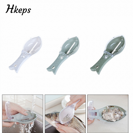 Home Kitchen Gadgets Fish Tools Fast Cleaning Fish Skin Peeler Anti-Splash Fast Remove Cleaning Brush