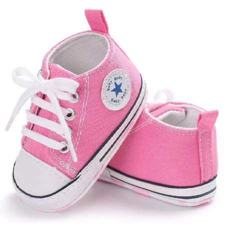 Hot Selling Unisex Lace Up Casual Girls Canvas Pre Walker Baby Shoes