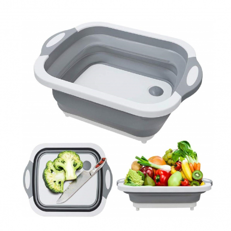 multifunction 3 in 1 plastic silicone folding cutting board with strainer foldable chopping board with tray bowls for kitchen