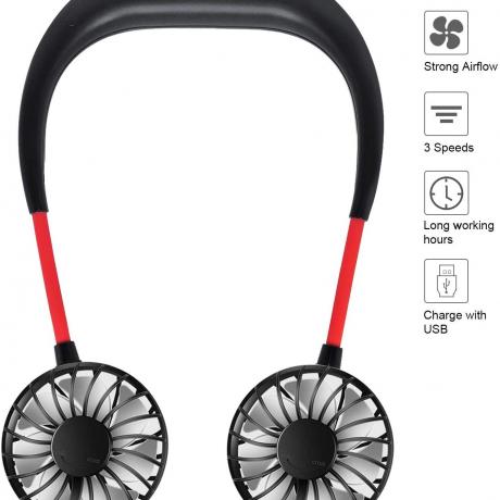Portable USB Hand Free Fan Neckband Sport Wearable Desktop Neck Hanging Fan