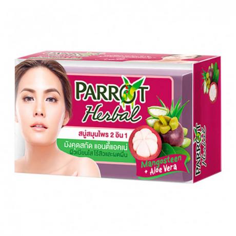 សាប៊ូដុំ ដុសខ្លួន Parrot Herbal Mangosteen+Aloe Vera
