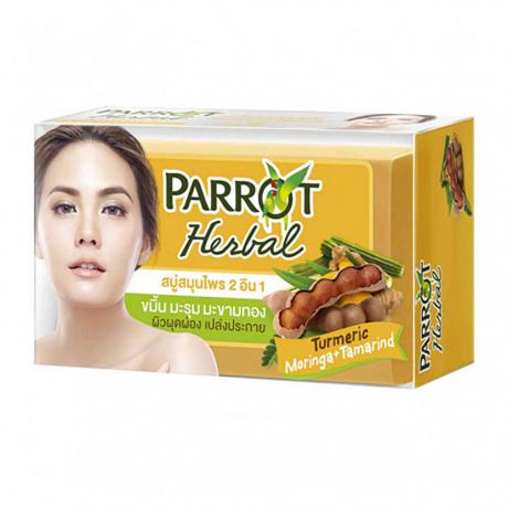 សាប៊ូដុំ ដុសខ្លួន Parrot Herbal Turmeric Moringa+Tamarind