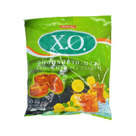ស្កគ្រាប់ X.O   lemon iced tea candy oval shaped net wt 110 g