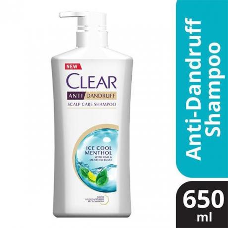 សាប៊ូកក់សក់ក្លៀរ ពណ៌ខៀវ Clear SH Ice Cool Menthol 650ml