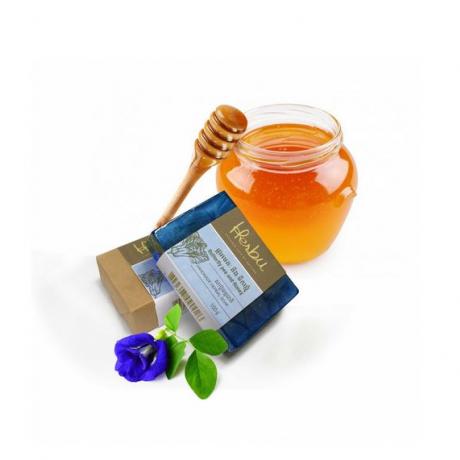 សាប៊ូធម្មជាតិផ្សំពីផ្កាអមតៈនិងទឹកឃ្មុំ (១០០ក្រាម)Turmeric and Honey soap