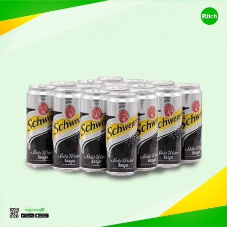 Schweppes Soda Water 330ml Sleek 24C