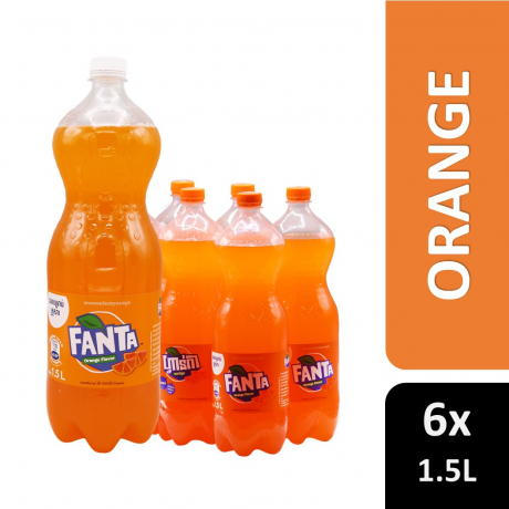 Plastic Bottle Fanta Oranage 1.5 L 6 Bottles
