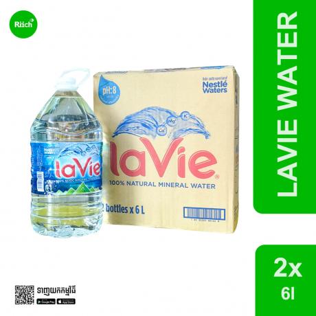 La Vie Mineral Water 6L*2 (ដប)