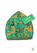 Believers'Muslim Prayer Cap Alif Ba Ta Design -01 Pcs (Green, Yellow and Black Color)