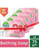 Dettol Skincare Bathing Bar Soap -75gm - Combo (4 Pcs)