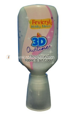 Fevicryl 3D Outliner (NP)  -GLITTER SILVER - 20 ml