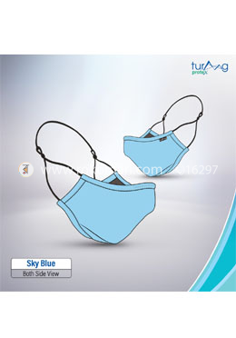 Turaag Protex SKY BLUE Face Mask For Men - 1 Pcs (Washable and reusable up to 25 times)