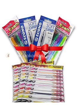 Pen Combo Package Yearly for Student - 02 (Econo Exam Pen - 12 Pcs, Econo Dx Teen Pen - 30 Pcs, Econo Soft Grip Pen - 20 Pcs)