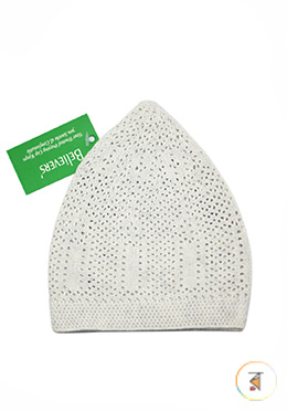 Believers'Muslim Prayer Cap P-Net Design -01 Pcs (White Color)