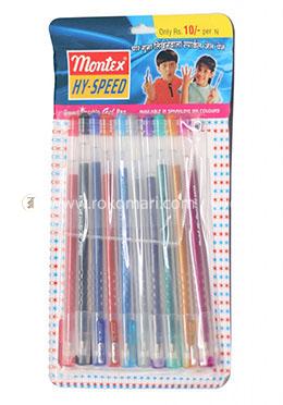 Montex Hy-Speed Smart Sparkle Gel Pen - 1 Pack =10 Pcs (Multicolor)