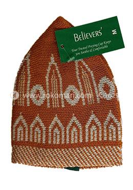 Believers Muslim Prayer Cap Minar Design -01 Pcs (Orange and White Color)