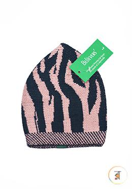 Believers'Muslim Prayer Cap Zebra Design -01 Pcs (Pale pink and Black Color)