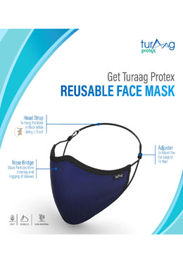 Turaag ProteX Three Layered Face Protection Mask For Men - 2 Pcs