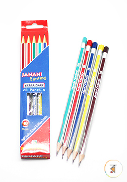Janani Fantasy Extra Dark 2B Pencil - 10Pcs (Different Body Color)