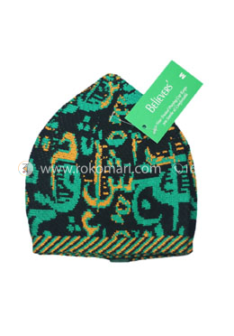 Believers'Muslim Prayer Cap Alif Ba Ta Design -01 Pcs (Black, Yellow and Green Color)