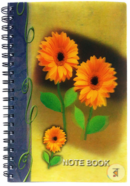 3 Yellow Flower 3D printed notebook - 160 Pages