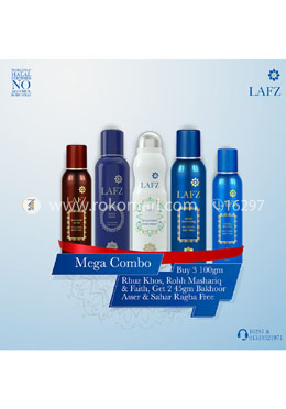 Mega Combo Package 1- Buy Rhuz Khos, Faith and Rooh Mashariq With free Sahar Ragba and Bakhoor Aseer-45g For Men and Women - Lafz Body Spray